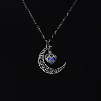 Purple glow in the dark silver moon with heart pendant necklace, key ring, or rear view mirror