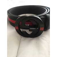 New Gucci GG Men's Black Red Green Leather Belt 42/105cm