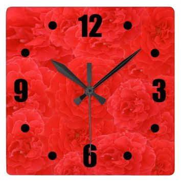 Girly Stylish Red Velvety Rose Blossoms Collage Square Wall Clocks