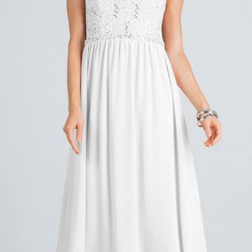 Empire Beaded Waist Floor Length Formal Dress Cut Out Back Off White