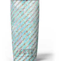Blue Watercolor and Gold Glitter Diagonal Stripes Yeti Rambler Skin Kit