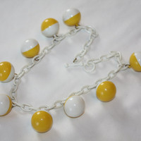 Celluloid Ball Necklace 1950s Jewelry Yellow Plastic Orb