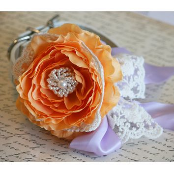 Pastel Orange Peonies and Lavender Wedding, Floral Dog Collar with Lace, Pet Wedding