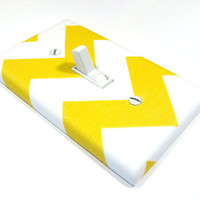 White and Yellow Chevron Light Switchplate Cover by ModernSwitch