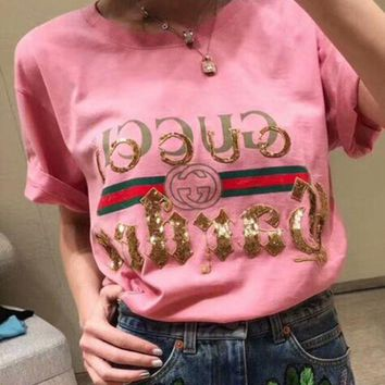 GUCCI 2018 Fashion Sequin Letter T-Shirt Shirt Tunic Blouse Top