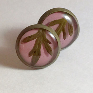 Free Shipping! Real Plant Earrings, Real Leaf Earrings, Real Plant Jewelry, Resin Earrings Live Plant