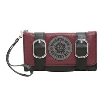 Licensed cool Supernatural Wallet Winchester Bros. Hunters Kit logo Double Buckle Tri-Fold NWT