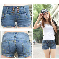Spring Triple Button Up Denim Shorts