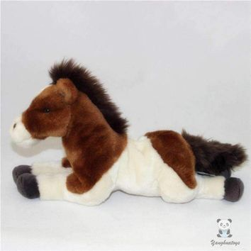 Brown/White Pony Stuffed Animal Plush Toy 14""