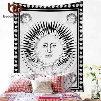 BeddingOutlet The Sun God Tapestry Black and White Wall Carpet Home Hanging Wall Tapestries Polyester Sheet 130x150cm 150x200cm