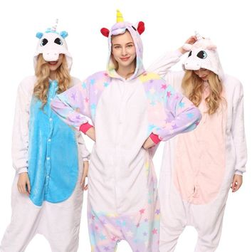 Winter pink unicorn Colorful Pajama Sets Cartoon Sleepwear Women Flannel Animal Unicornio 15 Colors Cosplay Costume