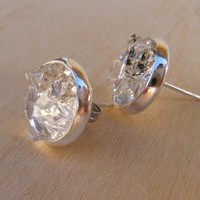 Raw Herkimer Diamond Crystal Silver Studs