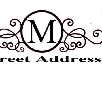 Monogrammed Door/Mail Box Vinyl Decal Personalized Decal Monogram Gift Monogrammed Decal Address Decal Mailbox Decal