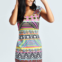 Kara Neon Print Cap Sleeve Bodycon Dress