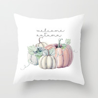 welcome autumn orange pumpkin Throw Pillow by Sylvia Cook Photography
