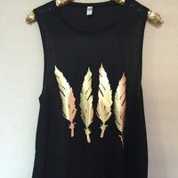 Feather Muscle Tank - RWL - Ruffles with Love - Womens Fashion Clothing - Graphic Tee - Fashion Tee