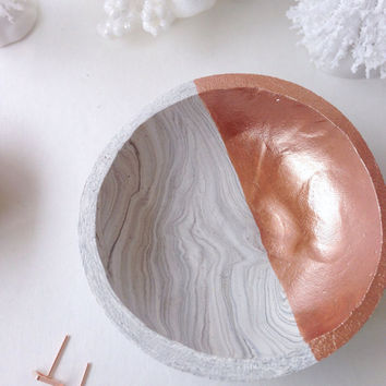 Marbled Rose Gold Mini Dish