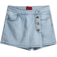 Blue Asymmetric Pockets Skirt Shorts