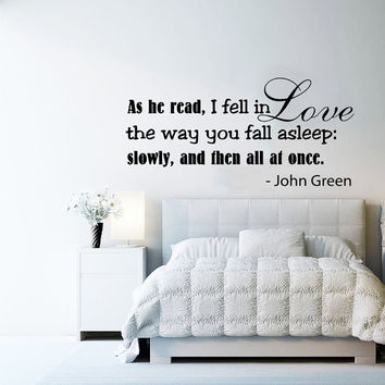 Wall Decals Quotes Vinyl Sticker Decal Bedroom Family Decal Art Home Decor Mural Quote Wall Decal As he read I fell in love Sign Words AN363