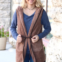 Softest Fleece Long Hooded Vest {Mocha}