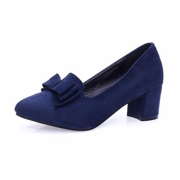 Women spring shoes bow square shoe heel women  Ladies Party With Bow slip Brand Women Pumps