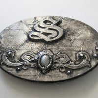Illuminated Letter S embossed in a faux steel distressed finish, decorative Old English wall letter, monogram plaque