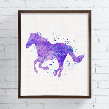 Horse Art, Watercolor Horse, Equestrian Girl Art, Girls Room Decor, Baby Girl Nursery, Cowgirl Nursery, Western Girls Room, Horse Painting