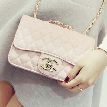 """""""Chanel""""Popular Ladies Exquisite Buckle Leather Chain Package Shoulder Diagonal Cross Package Pink I"""