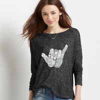 Long Sleeve Strappy Shoulder Shaka Tee