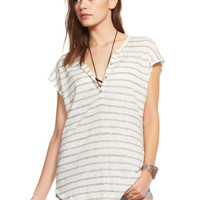 Chaser Clothing | Chaser - Shirttail Henley Cap Sleeve Tee Stripe » West Of Camden