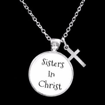 Sisters In Christ Christian Cross Friend BFF Friendship Gift Necklace