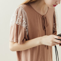 Lace Vibe Top(Peach) - Miss Patina