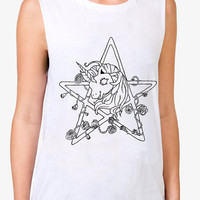 My Little Pony T-Shirt - Pentacle Tee- Muscle Tee- White -Grunge -Pastel Goth - Occult - Pentagram