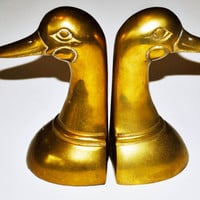Vintage Brass Duck Bookends, Brass Bookends Made In Korea,Heavy Brass Vintage Bookends