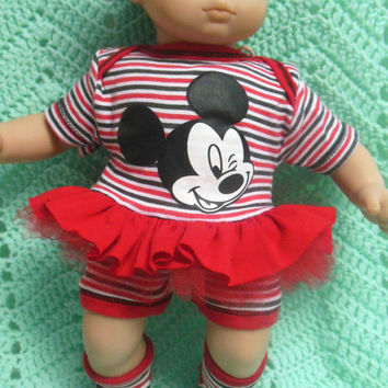 "AMERICAN GIRL Bitty Baby Clothes ""Oh Mickey, Your So Fine"" (15 inch) Disney doll outfit dress shorts baby booties / socks and headband"