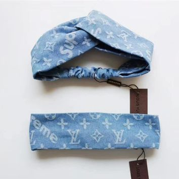 LV Louis Vuitton x Supreme Fashion Print Headwrap Headband Head Hair Band