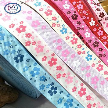 HL New 25mm width printed flower grosgrain ribbon wedding party decoration DIY crafts for making hair bows A902