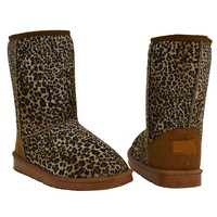 Womens Mid Calf Suede And Fur Lined Casual Comfort Pull On Warm Winter Boots Leopard