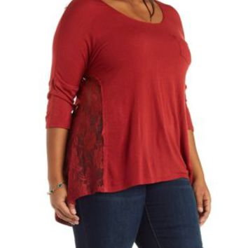 Plus Size Rust Lace Trim Tunic Top by Charlotte Russe