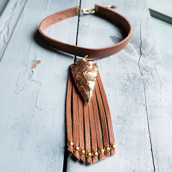 Gold Plated Arrowhead on Choker Necklace with Fringe 233o