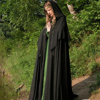 Black Mysterious Magic Fantasy Cloak