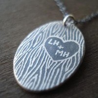 Personalized Carved Initials Necklace by lisahopkins on Etsy
