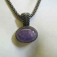 Sterling Silver Amethyst Pendant and Sterling Necklace, Vintage, Ethnic Look
