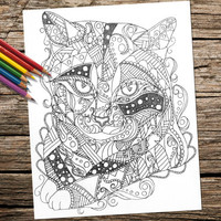 Printable Coloring Pages, adult coloring pages, Coloring Book For Adults, cat, Animal art, coloring page, coloring book, printable, cat art