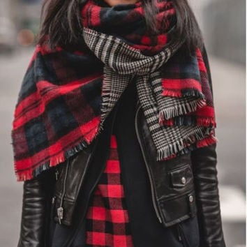 New Zara Plaid Checked Cowl Long Scarf Shawl Wrap Scarves Red Black Wool Blend Extra Large Double Sided Plaid Soft