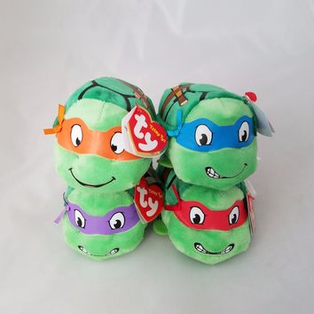 Set Of 4 TY Teenage Mutant Ninja Turtle TEENY TYs Beanie Stackable Plush Toy