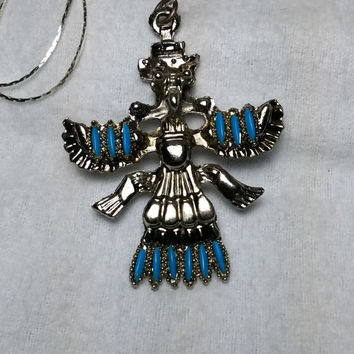 Supernatural Thunderbird  Turquoise and Silver Tone Necklace