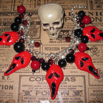 Halloween Scream Inspired Charm Bracelet Scary Horror Movie Goth Jewelry Red Devil Beads & Trinkets OOAK Statement Piece