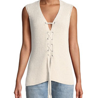 Cupcakes and Cashmere Kristy Lace-Up Sleeveless Sweater