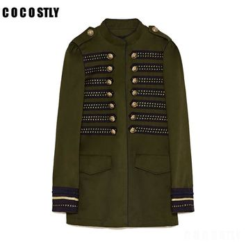 High Quality 2018 Jacket Woman Military Style Jacket Mandarin collar long sleeves Double Breasted Jacket Front snap buttons